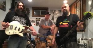 Featured web slider photo of New England power pop punk rock n roll band, Nostalgic Distortion. Left to right Ryan Byrne, Marc Sheehan, Tim Hazelton.