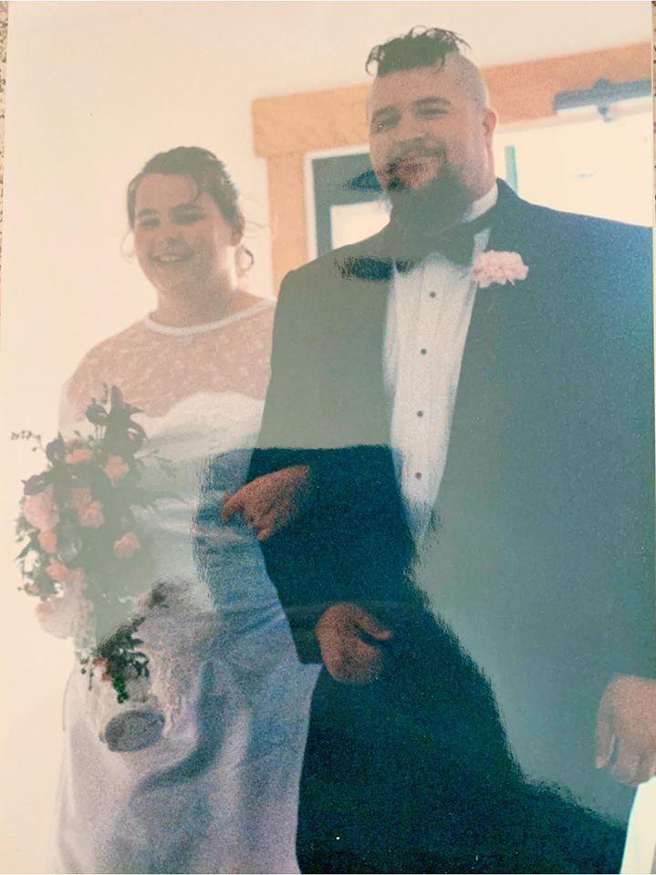 Photo of Nostalgic Distortion guitarist Tim Hazelton with bride Chandra at their wedding on June 21st, 1997